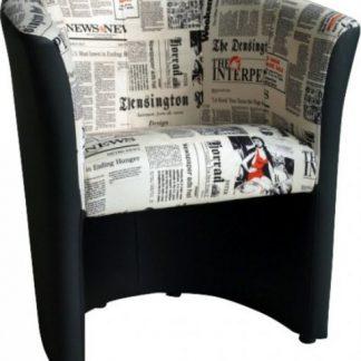 Tempo Kondela Křeslo CUBA - ekokůže černá/vzor noviny + kupón KONDELA10 na okamžitou slevu 3% (kupón uplatníte v košíku)