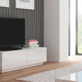 Halmar Televizní stolek Livo RTV-S korpus bílý/bílá vysoký lesk