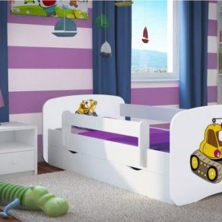 Forclaire Dětská postel se zábranou Ourbaby - bagr- bílý postel 180 x 80 cm s úložným prostorem