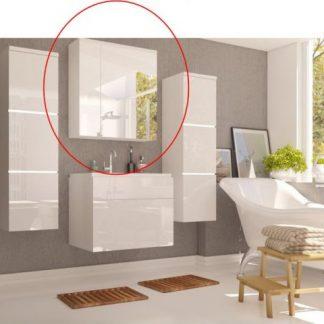Tempo Kondela Skříňka se zrcadlem MASON - bílá / bílý lesk + kupón KONDELA10 na okamžitou slevu 3% (kupón uplatníte v košíku)