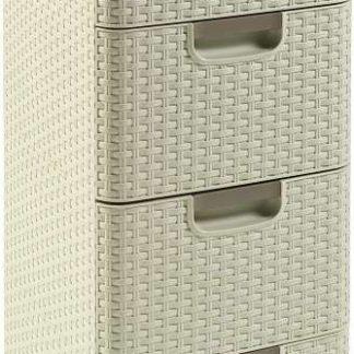 ATAN Skříňka RATTAN STYLE 4x14L - krémová - II.jakost