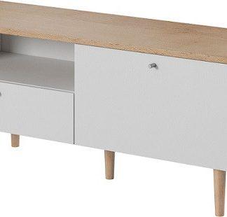 Tempo Kondela RTV stolek Laveli LRTV - bílá / buk pískový + kupón KONDELA10 na okamžitou slevu 3% (kupón uplatníte v košíku)