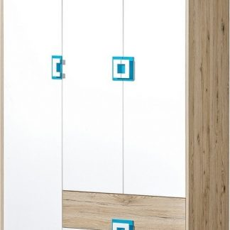 Casarredo Šatní skříň 3-dveřová NIKO 3 dub jasný/bílá/tyrkys