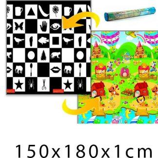 Forclaire Dětský pěnový koberec - šachovnice + domek lva 150x180x1cm