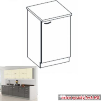 Tempo Kondela Kuchyňská skříňka PRADO 60 D 1F ZB - šedá + kupón KONDELA10 na okamžitou slevu 3% (kupón uplatníte v košíku)