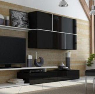 ATAN Obývací stěna GOYA - černá/černá/bílá - II.jakost