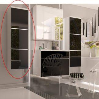 Tempo Kondela Vysoká skříňka MASON - bílá / černý lesk + kupón KONDELA10 na okamžitou slevu 3% (kupón uplatníte v košíku)