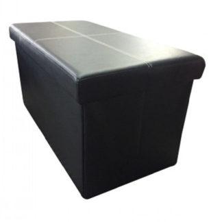Tempo Kondela Skládací taburet IMRA - černá ekokůže + kupón KONDELA10 na okamžitou slevu 3% (kupón uplatníte v košíku)