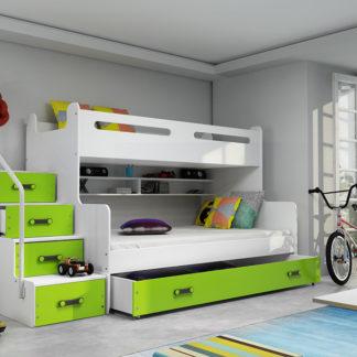 Falco Patrová postel Maty NEW s úložným prostorem bílá/zelená