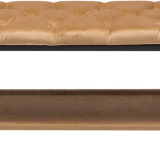Tempo Kondela Designová lavice VIKAR - černý kov/béžová látka + kupón KONDELA10 na okamžitou slevu 3% (kupón uplatníte v košíku)