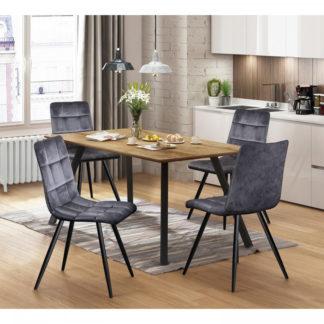 Idea Jídelní stůl BERGEN dub + 4 židle BERGEN šedý samet