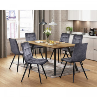 Idea Jídelní stůl BERGEN dub + 6 židlí BERGEN šedý samet