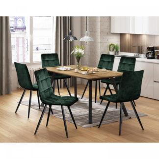 Idea Jídelní stůl BERGEN dub + 6 židlí BERGEN zelený samet