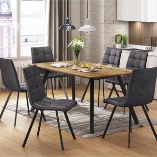 Idea Jídelní stůl BERGEN dub + 6 židlí BERGEN šedé mikrovlákno