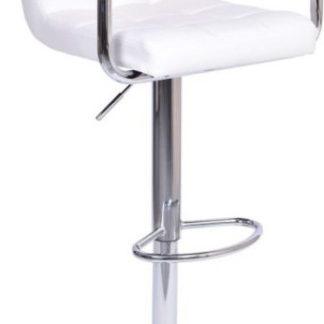 Tempo Kondela Barová židle LEORA 2 NEW - bílá eko kůže/chrom + kupón KONDELA10 na okamžitou slevu 3% (kupón uplatníte v košíku)