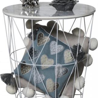Tempo Kondela Příruční stolek ENPLO - mramor/bílá + kupón KONDELA10 na okamžitou slevu 3% (kupón uplatníte v košíku)