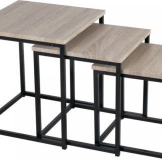 Tempo Kondela Set 3 konferenčních stolků KASTLER TYP 3 - dub sonoma/černá + kupón KONDELA10 na okamžitou slevu 3% (kupón uplatníte v košíku)