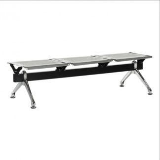 Tempo Kondela 3-místná lavice do čekárny EMALA - stříbrná / černá + kupón KONDELA10 na okamžitou slevu 3% (kupón uplatníte v košíku)