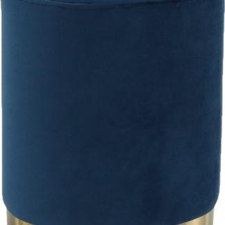 Tempo Kondela Taburet ALAZ - modrá Velvet /gold chrom-zlatá + kupón KONDELA10 na okamžitou slevu 3% (kupón uplatníte v košíku)