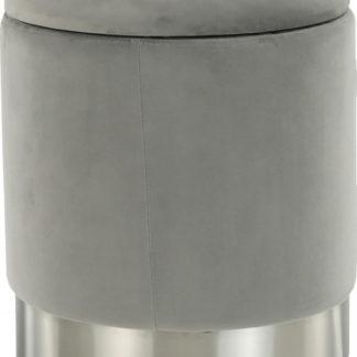 Tempo Kondela Taburet DARON - šedá Velvet /stříbrná chrom + kupón KONDELA10 na okamžitou slevu 3% (kupón uplatníte v košíku)