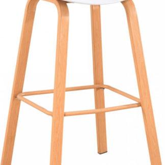 Tempo Kondela Barová židle BRAGA - bílá/přírodní + kupón KONDELA10 na okamžitou slevu 3% (kupón uplatníte v košíku)