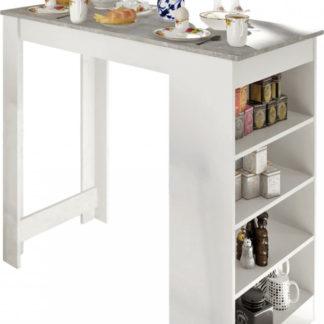 Tempo Kondela Barový stůl Austen - bílá / beton + kupón KONDELA10 na okamžitou slevu 3% (kupón uplatníte v košíku)