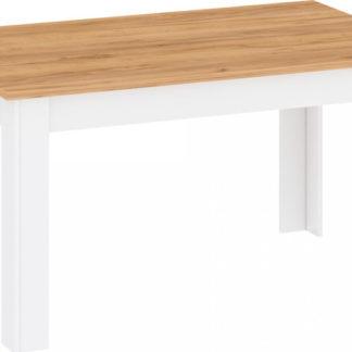 Tempo Kondela Jídelní stůl LANZETTE S - bílá/dub zlatý + kupón KONDELA10 na okamžitou slevu 3% (kupón uplatníte v košíku)