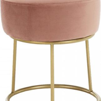 Tempo Kondela Taburet Aysu - růžová Velvet  / zlatý nátěr + kupón KONDELA10 na okamžitou slevu 3% (kupón uplatníte v košíku)
