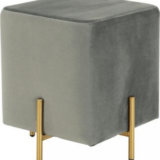 Tempo Kondela Taburet MIDI - šedá Velvet /zlatý nátěr + kupón KONDELA10 na okamžitou slevu 3% (kupón uplatníte v košíku)