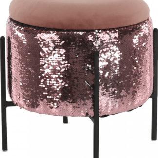 Tempo Kondela Taburet TOMIA - růžová/růžové flitry + kupón KONDELA10 na okamžitou slevu 3% (kupón uplatníte v košíku)