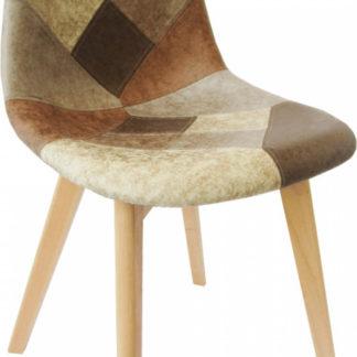Tempo Kondela Jídelní židle SALEVA - patchwork/buk + kupón KONDELA10 na okamžitou slevu 3% (kupón uplatníte v košíku)