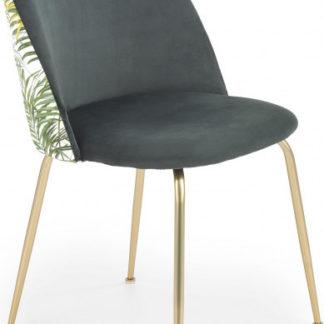 Halmar Jídelní židle K372 - tmavě zelená/zlatá