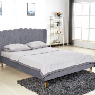 Halmar Manželská postel VALVERDE 160x200 cm - šedá/zlatá