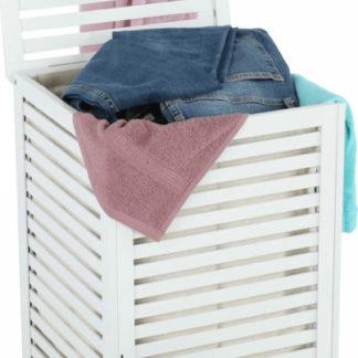 Tempo Kondela Koš na prádlo BASKET - lakovaný bambus/bílá/béžová + kupón KONDELA10 na okamžitou slevu 3% (kupón uplatníte v košíku)