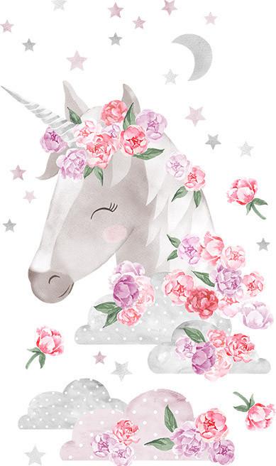 Pastelowelove Samolepka na zeď jednorožec - růžový