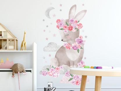 Pastelowelove Samolepka na zeď králíček - růžový