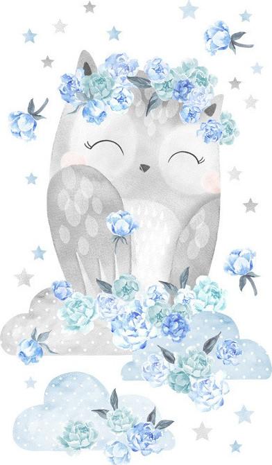 Pastelowelove Samolepka na zeď sovička - modrá