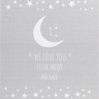 Livone Dětský koberec milujeme měsíc - šedý 90x