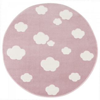 Livone Dětský koberec mráčky - růžová/bílá