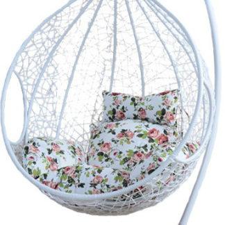 Tempo Kondela Závěsné křeslo NOELA - bílá / vzor květiny + kupón KONDELA10 na okamžitou slevu 3% (kupón uplatníte v košíku)