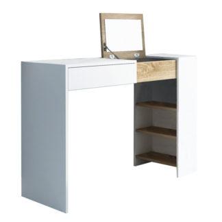 Tempo Kondela Toaletní stolek ELIS - bílá / dub sonoma + kupón KONDELA10 na okamžitou slevu 3% (kupón uplatníte v košíku)