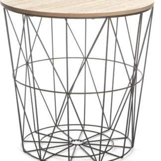 Tempo Kondela Příruční stolek NANCER - přírodní/černá + kupón KONDELA10 na okamžitou slevu 3% (kupón uplatníte v košíku)