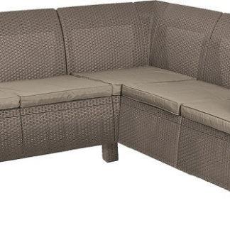 Rojaplast Rohové sofa CORFU RELAX - cappuccino + pískové podušky