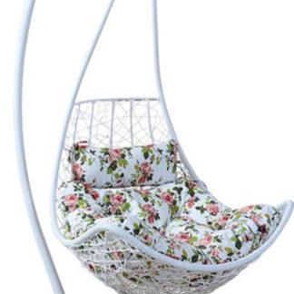 Tempo Kondela Závěsné křeslo KALEA NEW - bílá/vzor květiny + kupón KONDELA10 na okamžitou slevu 3% (kupón uplatníte v košíku)