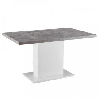 Tempo Kondela Jídelní stůl KAZMA - beton / bílý lesk + kupón KONDELA10 na okamžitou slevu 3% (kupón uplatníte v košíku)