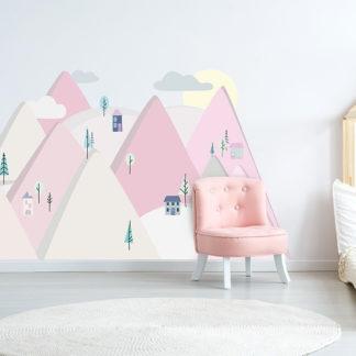 Pastelowelove Samolepka na stěnu hory - růžová