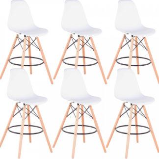 Tempo Kondela Set šesti barových židlí CARBRY 2 NEW - bílá/buk + kupón KONDELA10 na okamžitou slevu 3% (kupón uplatníte v košíku)