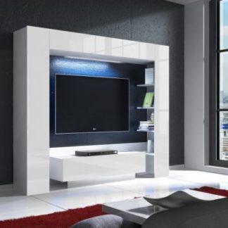 Tempo Kondela TV stěna LED osvetlením MONTEREJ - bílá/bílá extra vysoký lesk + kupón KONDELA10 na okamžitou slevu 3% (kupón uplatníte v košíku)