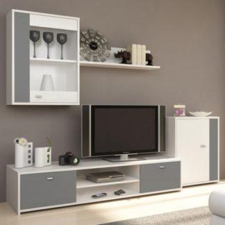 Tempo Kondela Obývací stěna GENTA - bílá / šedá + kupón KONDELA10 na okamžitou slevu 3% (kupón uplatníte v košíku)