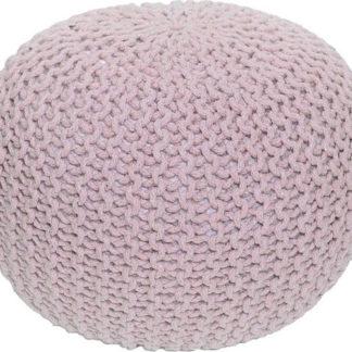 Tempo Kondela Pletený taburet GOBI TYP 2 - pudrová růžová bavlna + kupón KONDELA10 na okamžitou slevu 3% (kupón uplatníte v košíku)
